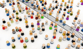 Cartoon Crowd, Fenced Off. Crowd of small symbolic 3d figures, isolated Royalty Free Stock Photography