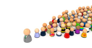 Cartoon Crowd, Field Trip. Crowd of small symbolic 3d figures, isolated Stock Photos