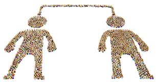 Cartoon Crowd Figure, Connected Two. Crowd of small symbolic figures forming big person shape, connected two, 3d illustration, horizontal, isolated, over white Stock Image