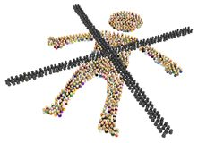 Cartoon Crowd Figure, Crossed Out. Crowd of small symbolic figures forming big person shape crossed out, 3d illustration, horizontal, isolated, over white royalty free illustration