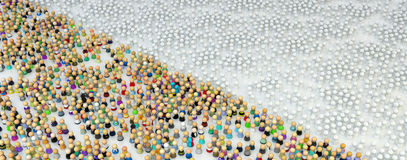 Cartoon Crowd, Figure Field Split. Large crowd of small symbolic 3d figures, over white Stock Photos