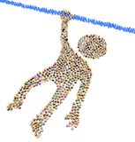 Cartoon Crowd Figure, Hanging. Crowd of small symbolic figures forming big person shape hanging, 3d illustration, horizontal, isolated, over white Royalty Free Stock Photography