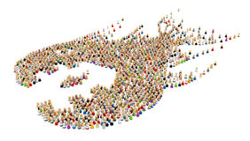 Cartoon Crowd, Fish Swallow, Side Royalty Free Stock Image