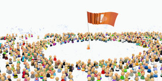 Cartoon Crowd, Flag Stock Images