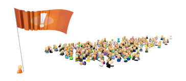 Cartoon Crowd, Flag Standing Out. Crowd of small symbolic 3d figures, over white, isolated Stock Photo