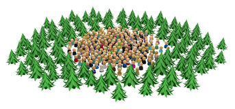 Cartoon Crowd, Forest Circle Stock Photography