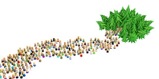 Cartoon Crowd, Forest Way. Large crowd of small symbolic 3d figures, way into forest, over white Royalty Free Stock Photo