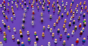 Cartoon Crowd, Glass Covers. Crowd of small symbolic 3d figures, isolated Royalty Free Stock Images