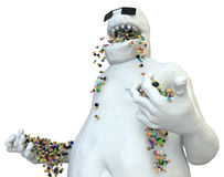 Cartoon Crowd, Glutton. Small symbolic 3d figures eaten by big white figure, over white, isolated Royalty Free Stock Image