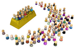 Cartoon Crowd, Gold Bar Royalty Free Stock Photos