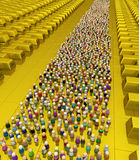 Cartoon Crowd, Golden Reserve Royalty Free Stock Images