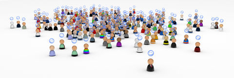 Cartoon Crowd, Good Mood Royalty Free Stock Photo