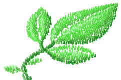 Cartoon Crowd, Green Leaf Figures Royalty Free Stock Images