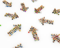Cartoon Crowd, Group Arrows. Crowd of small symbolic 3d figures formed in arrows, isolated Stock Photography