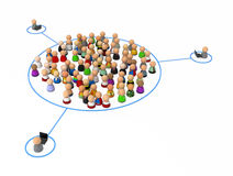 Cartoon Crowd, Group Link. Crowd of small symbolic 3d figures, over white Royalty Free Stock Images