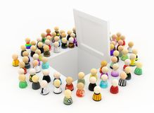 Cartoon Crowd, Hatch White. Crowd of small symbolic figures around open white hatch, 3d illustration, horizontal Royalty Free Stock Image