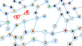 Cartoon Crowd, Heart Couple. Crowd of small symbolic 3d figures linked by lines, isolated stock illustration