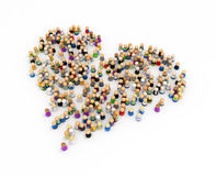 Cartoon Crowd, Heart Shape. Crowd of small symbolic 3d figures forming a heart, isolated vector illustration