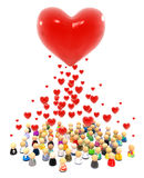 Cartoon Crowd, Hearts Gather. Crowd of small symbolic figures, red heart shape valentine, 3d illustration, vertical royalty free illustration