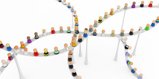 Cartoon Crowd, High Walkway Climb. Crowd of small symbolic 3d figures on a high walkway, isolated Stock Photos