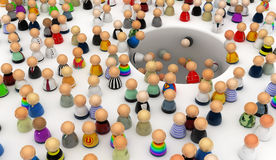 Cartoon Crowd, Hole Royalty Free Stock Images