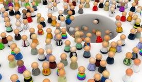 Cartoon Crowd, Hole. Crowd of small symbolic 3d figures, horizontal stock illustration