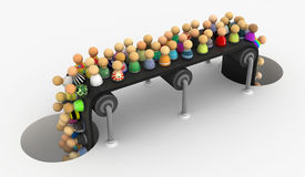 Cartoon Crowd, Holes Conveyor Stock Photography
