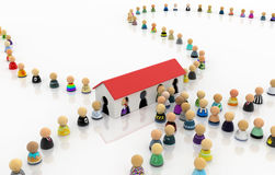 Cartoon Crowd, House Entries Royalty Free Stock Images