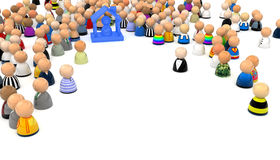 Cartoon Crowd, Housed. Crowd of small symbolic 3d figures, isolated Royalty Free Stock Image