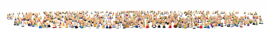 Cartoon Crowd, Huge Quantity Royalty Free Stock Image