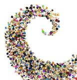 Cartoon Crowd, Huge Spiral. Crowd of small symbolic figures big spiral wave shape, 3d illustration, horizontal, , over white Royalty Free Stock Images