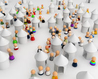 Cartoon Crowd, Huts Royalty Free Stock Image