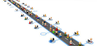 Cartoon Crowd, Information Highway. Crowd of small symbolic 3d figures, over white Stock Photos