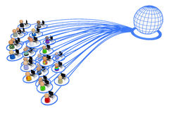 Cartoon Crowd, Internet User Group. Crowd of small symbolic 3d computer user figures linked by lines, isolated vector illustration