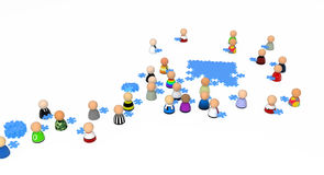 Cartoon Crowd, Jigsaw Fetch. Crowd of small symbolic 3d figures, over white Stock Image
