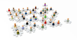 Cartoon Crowd, Jigsaw Field Stock Image