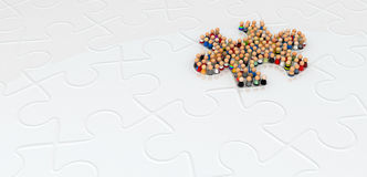 Cartoon Crowd, Jigsaw Shape Royalty Free Stock Photo
