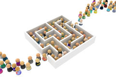 Cartoon Crowd, Labyrinth. Crowd of small symbolic figures white labyrinth, 3d illustration, horizontal Stock Photography