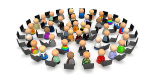 Cartoon Crowd, Laptop Circle. Crowd of small symbolic 3d figures, isolated Royalty Free Stock Photo