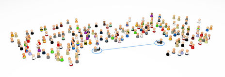 Cartoon Crowd, Laptop Link Stock Photo