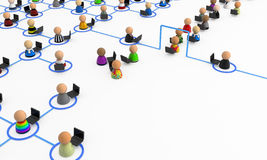 Cartoon Crowd, Laptop Link Space. Crowd of small symbolic 3d figures, over white Royalty Free Stock Photography