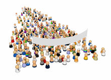 Cartoon Crowd, Large Banner. Crowd of small symbolic 3d figures with large banner, isolated vector illustration