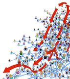 Cartoon Crowd Layered System, Arrows Move. Crowd of small symbolic 3d figures linked by lines, complex layered system, arrows move, over white, horizontal Royalty Free Stock Photo