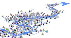 Cartoon Crowd Layered System, Big Arrow. Crowd of small symbolic 3d figures linked by lines, complex layered system big arrow follow, over white, horizontal Stock Photos