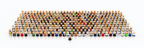 Cartoon Crowd, Leadership. Crowd of small symbolic 3d figures, with one in front Royalty Free Stock Photos