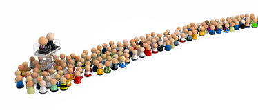 Cartoon Crowd, Lift Up. Crowd of small symbolic 3d figures, isolated Stock Photo