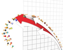 Cartoon Crowd, Line Graph Fall. Crowd of small symbolic 3d figures, falling from line graph, over white Stock Photo