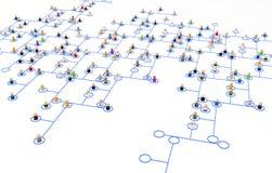 Cartoon Crowd, Line Network Scheme Closeup Stock Photography