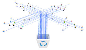 Cartoon Crowd, Link Bin. Crowd of small symbolic 3d figures linked by lines Stock Photography
