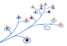 Cartoon Crowd, Link Branch. Crowd of small symbolic 3d figures linked by lines, isolated Stock Photos